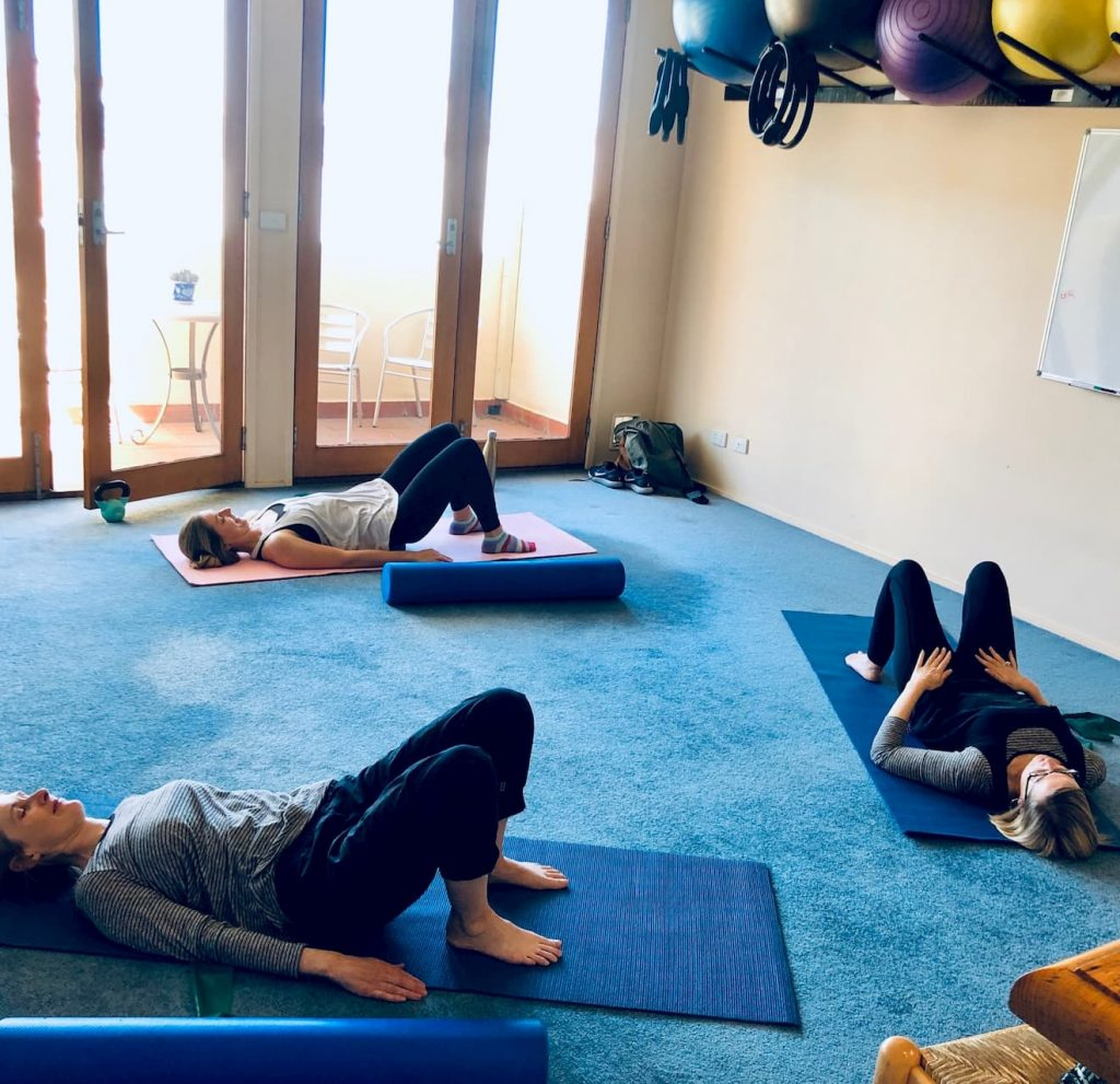 One of our mat pilates classes in session.